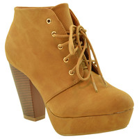 Womens Ankle Boots Lace Up Chunky Heel Faux Leather Platform Shoes Tan