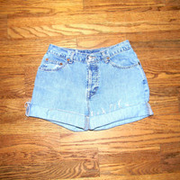 Vintage Denim Cut Offs - 90s Light Wash Stone Washed Jean Shorts by Gao - High Waisted/Rolled up/Distressed Shorts - Size 7/8