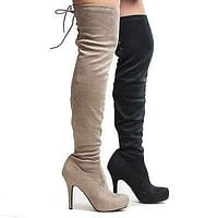 Deceive By Dollhouse, Over Knee Almond Toe Corset Lace Pull On Stiletto Heel Boots