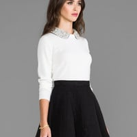 Milly Crystal Collar Sweater in Ivory