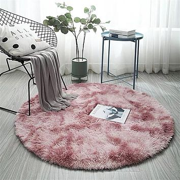 Pink Round Carpet Nordic Ins Style Gradient Colorful Rug For Living Room Bedroom Rugs