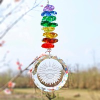 Hanging Crystal Sun Face Prisms Chakra  Ornament