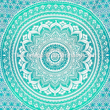 Trendyystuff Twin Ombre Mandala Tapestry, Mandala Tapestry Wall Hanging, Psychedelic Wall Art, Dorm Décor Beach Throw