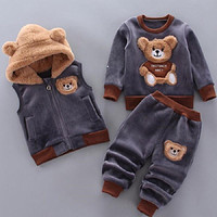 Winter Warm Children Clothing Sets Cartoon Bear Baby Boy Clothes For Newborn Toddler Clothes For Girls Sport Tracksuit Set Girl