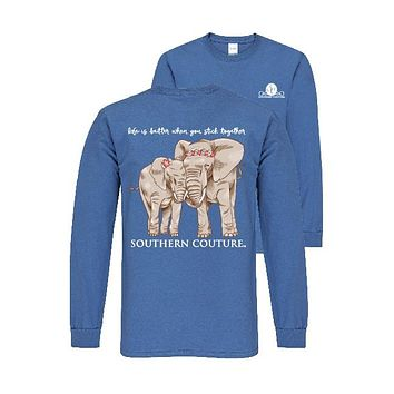 Southern Couture Preppy Stick Together Elephants Long Sleeve T-Shirt