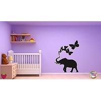 Wall Sticker Elephant Butterfly Animal Cool Decor for Living Room Unique Gift z1430