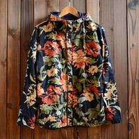 Men's Floral Print Two Sides Lightweight Hooded Jackets