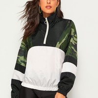 O-ring Zip Half Placket Contrast Panel Camo Print Windbreaker Jacket