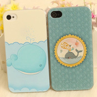 cute Dolphins whales iphone 4/4s/5 case