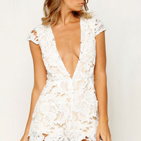 White and Nude Lace Romper