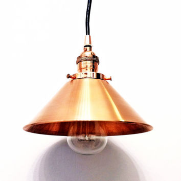 """Copper pendant light lamp steampunk industrial 8"""" cone shade vintage antique Edison bulb rustic hanging ceiling mount canopy wall swag lamp"""