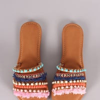 Qupid Jewels And Fringes Embellished Slide Sandal