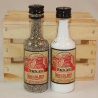 Yukon Jack Wicked Hot Salt & Pepper Shaker, Upcycled Liquor Bottles