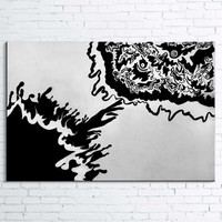 """Hand Painted Balck and White Abstract Oil Painting on Canvas by A. Babanska""""Gentil"""". Original, Contemporary, Wall, Art, Modern, Painting"""