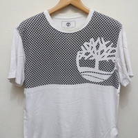 15% SALES Vintage TIMBERLAND Tee T Shirt White Size L