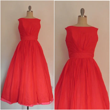Vintage 1950s Red Chiffon  Flare Sleeveless Evening Gown/ Dress