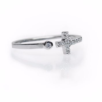 Ava Cross Ring, Christian Jewelry, 925 Sterling Silver
