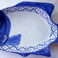 """Thai CERAMIC PLATE / Dish / Platter Fish Shaped Perch ~ Blue & White Dish~  Hand Painted by Artisans 15.5"""" x 8"""" x 2.35"""" New ~ Ships from USA"""