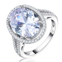 Ingenue 6 Carat Oval Halo White Gold Plated Cocktail Ring