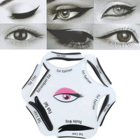 6 in 1 Beauty Cat Eyeliner Smoky Eye Stencil Models Template Shaper Makeup Tool