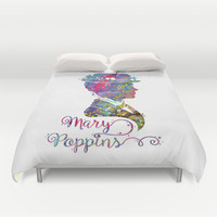 Mary Poppins Portrait Silhouette Duvet Cover by Bitter Moon