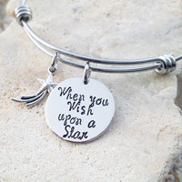 Bracelet - Bangle - Jewelry - Disney - Disney Jewelry - Shooting Star - Gift - Gift for Her - When you wish upon a Star - Stainless Steel