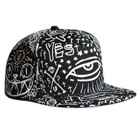 Black Eye and Star Print Snap Back Cap