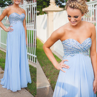 Sweetheart A-Line Blue Prom Dresses