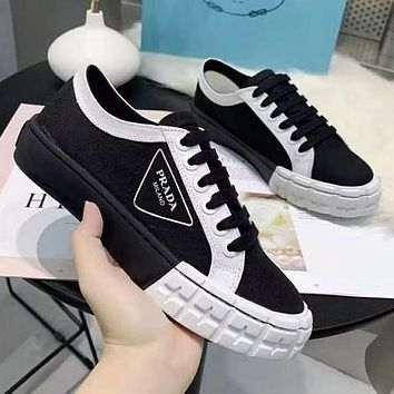 PRADA hot sale stitching color letter printing ladies sneakers casual shoes 1