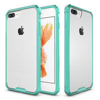 IPhone 7 Plus Full Body Hybrid Transparent TPU PC Bumper Case Cover Teal
