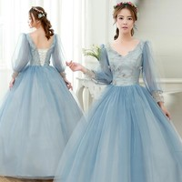 grey blue lantern sleeve ball gown medieval dress Renaissance