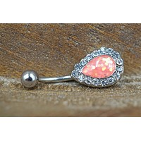 Pink Opal Belly Button Ring Glitter Teardrop