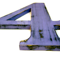 Wooden Number 4 (Pictured in Lavender) Pine Wood Sign Wall Decor Rustic Americana Cottage Country Chic