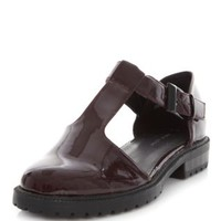 Burgundy Patent Chunky Cut Out T-Bar Shoes