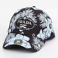 LV & Prada New fashion monogram print embroidery letter camouflage couple cap hat
