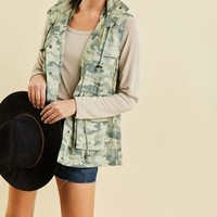 Camo Hooded Vest - Army Green