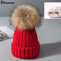 Red hat  female thick velvet warm Skullies & Beanies lovely woman pom winter cap real fur pom pom 15cm winter hat for women