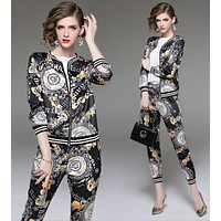 Versace Autumn Winter Newest Trending Women Stylish Print Cardigan Jacket Coat Pants Trousers Set Two-Piece