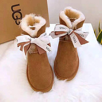 UGG Winter Trending Women Stylish Warm Bowknot Wool Snow Boots Shoes