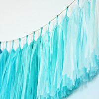 Turquoise Ombre Tissue Tassel Garland, Blue Ombre Tassel Garland, Beach Wedding Decor, Nursery Decor, Kids Room Decor, Wedding Backdrop