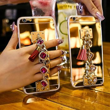 Soft Mirror Phone Case For iPhone 11 Pro Max XS MAX XR 8 7 6 6S Plus Case Rhinestone Bracelet Cover For iPhone 8 7 Plus 5S SE