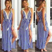 Blue And White Striped Lace Slit Dress 10414