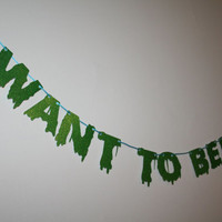 I WANT TO BELIEVE Glitter Banner // X-Files // Aliens Exist // Extraterrestrial [Black Cord]