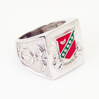 Kappa Sigma Sterling Silver Ring with Raised Crest and Red Enamel