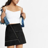 Black Faux Suede Studded Aline Mini Skirt