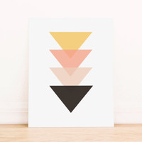 Triangle Coral Yellow and Black Geometric Art PRINTABLE Art Dorm Decor Typography Poster Home Decor Office Decor Apartment Poster