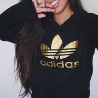 adidas originals gold logo hooded top sweater pullover sweatshirt-1