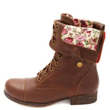 Floral-Lined Fold-Over Combat Boots by Charlotte Russe - Chestnut