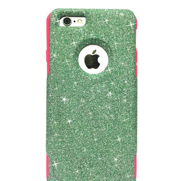 iPhone 6 Plus Custom Glitter Otterbox Commuter Cute Case, Glitter Teal / Pink Otterbox Color Cover for iPhone 6 Plus