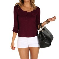 Burgundy Rolled-up Sleeve Top